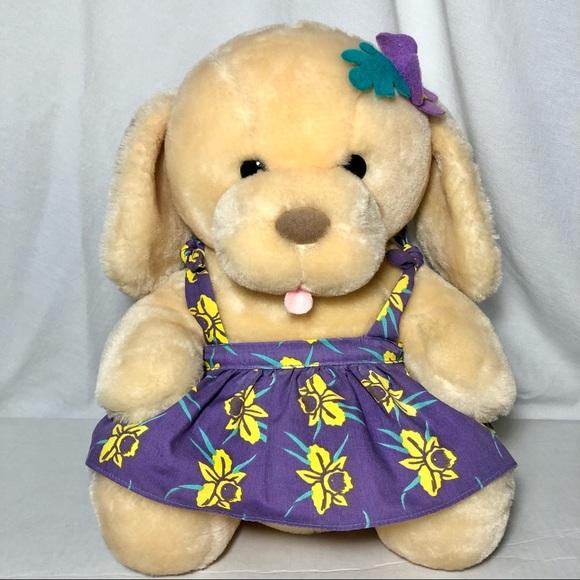 Dakin Beach Buddies Vintage 1986 Plush Dog Daffodil Dress
